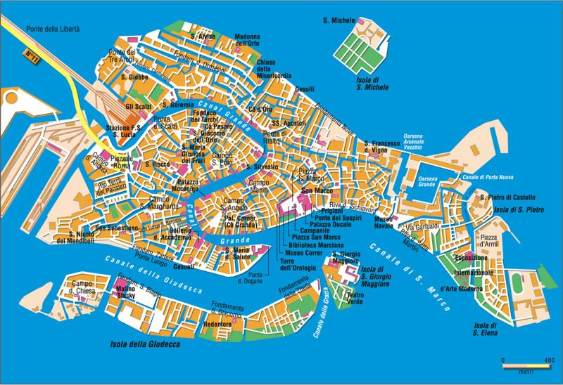 Cartina Turistica Di Venezia.Alberghi Info Venezia